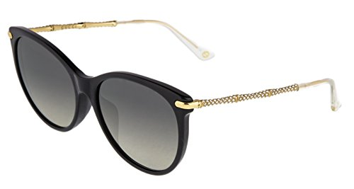 Gucci Bamboo Sunglasses Crystal Asian Fit GG3777NF Polarized Black Gold - Sunglasses Gucci Bamboo