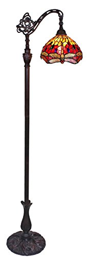 Amora Lighting Tiffany Style Dragonfly Floor Lamp
