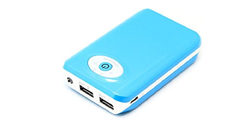 [Genuine Gorilla®] Baby Blue (1x) 8800mAh Power Bank, Portable Charging Unit with Dual USB Output (5v/1a & 5v/2a) - Compatible With All Small Electronics - Small LED Flashlight Built-in.