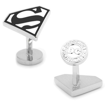 DC+Comics Products : DC Comics Enamel Black and White Superman Shield Cufflinks
