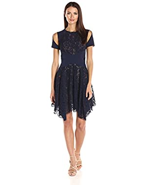 BCBGMax Azria Women's Trish Knit and Lace Dress