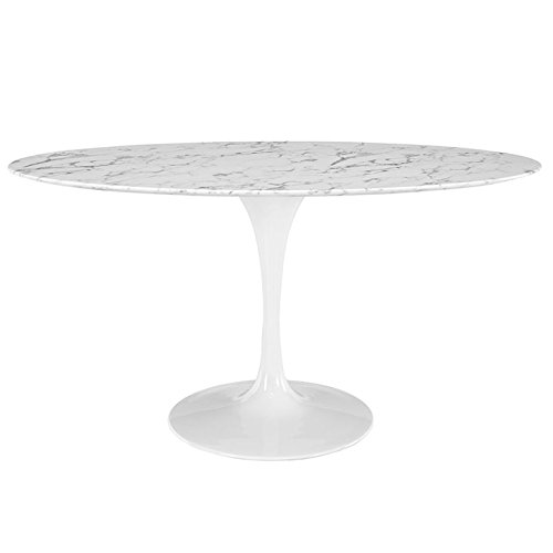 Modway Lippa 60″ Oval-Shaped Artificial Marble Dining Table in White