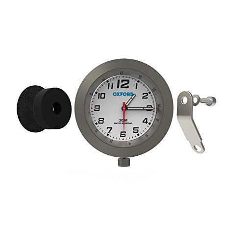 Oxford OX561 AnaClock Titanium Base White Face Handlebar Clock Water Resistant