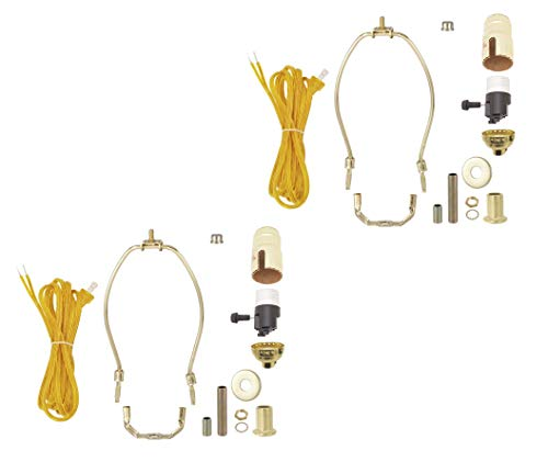 B&P Lamp Pack of Two, Brass Plated Finish Table Lamp Wiring Kit with 9 Inch Harp and 3-Way Socket