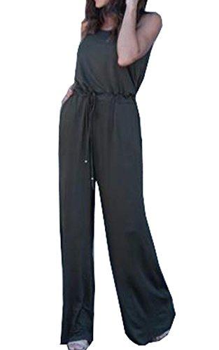 Larga Vita Tunica Army Schienale a Tutine Donna Up Pagliaccetti Simple Green Estive Monopezzi Pantaloni Jumpsuits Fashion Moda Senza Sexy Intere Pin Unita Rompers Tinta Gamba Alta wX7qf6