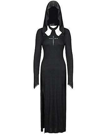 Dark In Love Gothik mit Kapuze Maxi Kleid lang schwarz Hexe Okkult ...