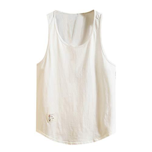FEDULK Plus Size Vest Men Fitness Sports Bodybuilding Sleeveless Round Neck Plain Tank Tops Breathable T-Shirt(White, Large)