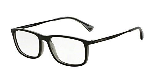 Emporio Armani Montures de lunettes 3070 Pour Homme Matte Black / Grey Transparent 5468: Matte Black / Grey Transparent