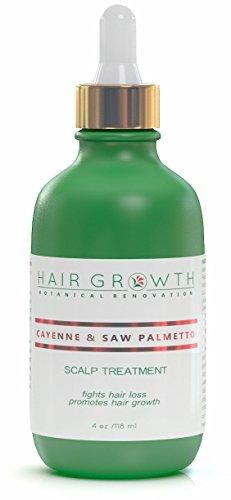Hair Growth Botanical Renovation Anti-hair Loss Scalp Treatment Hair Oil, Cayenne and Saw Palmetto, 4 oz./118 mL