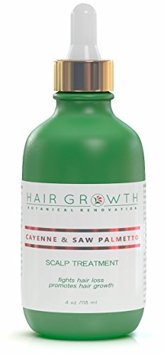 Hair Growth Botanical Renovation Anti-hair Loss Scalp Treatment Hair Oil, Cayenne and Saw Palmetto, 4 oz./118 mL