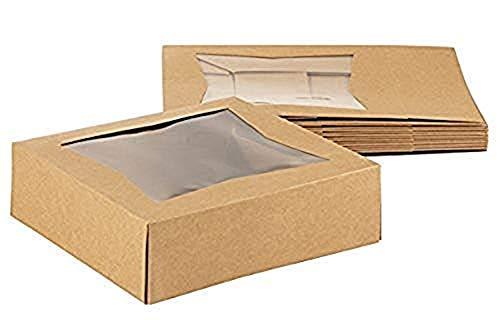 Kraft - Caja para ventanas de papel, 10 unidades, cartón kraft marrón, ventana, pastelería y pastelería con ventana de plástico, 20 x 20 x 6,35 cm: Amazon.es: Amazon.es