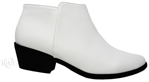 MVE Schuhe Cute Western Cowboy Bootie - Damen Spitzschuh Slip On Ankle Boot - Zurück Reißverschluss Low Heel Weiß Imsu * m