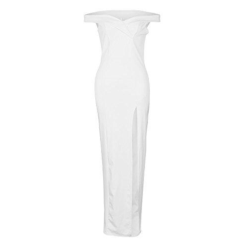 Moda Noche Bodas Slim Gala Mujer Verano De Sólido Vestido Sin Para De Aberturas Fiesta Coctel Blanco Elegantes Vestidos Hombro Largos Color Celebración Con Vestidos OqvIUw6