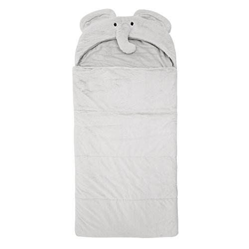 Best Home Fashion Plush Faux Fur Hooded Elephant Animal Sleeping Bag - Grey - 27