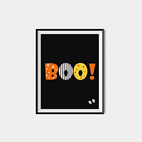 Halloween Printable Boo Sign Funny Poster Gift for Men Woman Poster Home Art Wall Posters [No Framed]