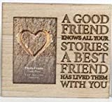 The Home Fusion Company Wood Wooden Box Picture Photo Frame Cut Out Words 'A Good Friend Knows All Your Stories A Best Friend Has Lived Them With You'