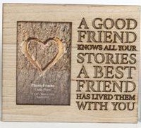 The Home Fusion Company Wood Wooden Box Picture Photo Frame Cut Out Words 'A Good Friend Knows All Your Stories A Best Friend Has Lived Them With You' by The Home Fusion Company