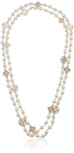 Fashion Jewelry Bridal and Chic Long Imitation Pearl 4Leaf Clover Strand Necklace (Gold Clover) (Fake Chanel Jewelry)