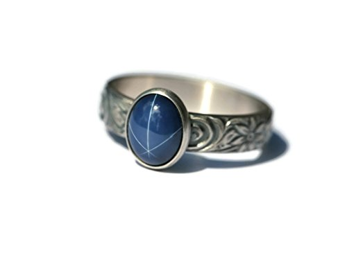 Large Oval Created Blue Star Sapphire and Sterling Silver Ring on Floral Pattern Band in Antique Silver (Silver Antique Pattern)