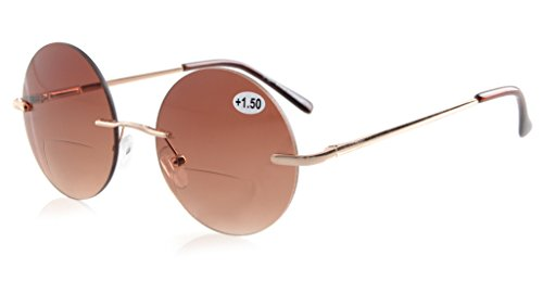 Eyekepper Sun Readers Spring-Hinges Rimless Round Bifocal Sunglasses Brown - Of Glasses Lens Out Fell