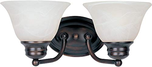 - Maxim 2687MROI Malaga 2-Light Bath Vanity Wall Sconce, Oil Rubbed Bronze Finish, Marble Glass, MB Incandescent Incandescent Bulb , 60W Max., Damp Safety Rating, Standard Dimmable, Hemp String Shade Material, Rated Lumens