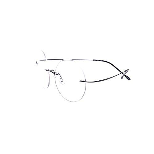 SUMDA 46mm Vintage Rimless Round Glasses eyeglass Frame RX (black, - Prescription Round Eyeglasses Rimless
