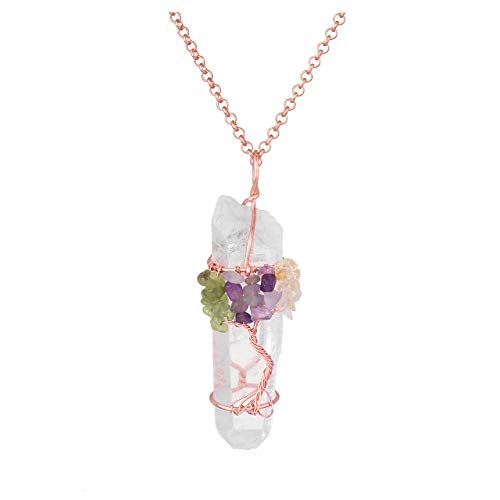 Jovivi Chakra Gemstone Tree of Life Wire Wrapped Natural Clear Quartz Healing Crystal Point Pendant Necklace - Necklace Crystal Olivine