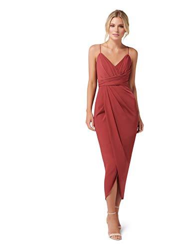Ever New Womens Charlotte Drape Maxi Dress Burnt Red