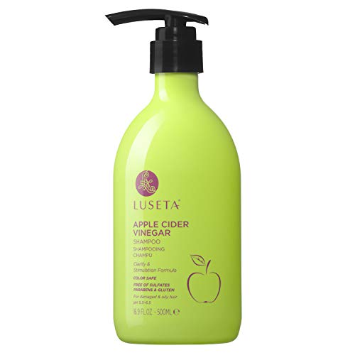 Luseta Hair Shampoo, Infused with Apple Cider Vinegar for Clarify & Stimulation, Natural Balance Sulfate & pareteen Free 500ml (Apple Cider Clearing Rinse)