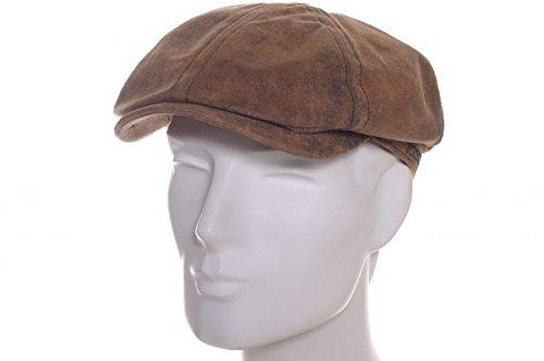 038807ed92627 Stetson Lanesboro Distressed Leather Newsboy Cap (Large