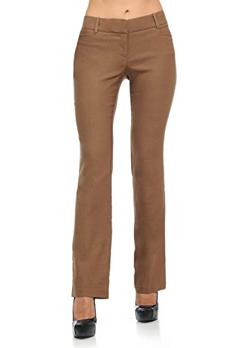 Flap Pocket Trousers - Sweethabit Womens Straight Fit Front Pocket Button Flaps Trouser Pants(LP91214) (Small, Brown)
