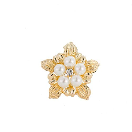 TULIP LY Shiny Crystal Brooch Simulated Pearl Elegant Flower Cluster Brooch Pin Fashion Jewelry Brooch Wedding Flower Brooch for Women Girl (Gold Pearl Brooch)