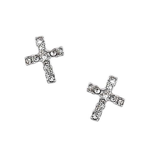 (White Gold Plated Simple Small Mini Cubic Zirconia Cross Stud Earrings Fashion Jewelry for Women)