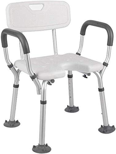 TZSMYD 先輩浴室安全ハンドルノンスリップ障害者支援のためにアルミ合金の高さ調節可能なバーススツールで吸引カップのシャワーシート M5Y0D9