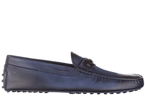Tod's mocasines en piel hombres nuevo macro clamp dark gommini blu