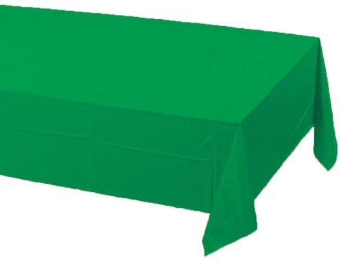 Creative Converting Touch of Color Plastic Lined Table Cover, 54 by 108-Inch, Emerald Green ()