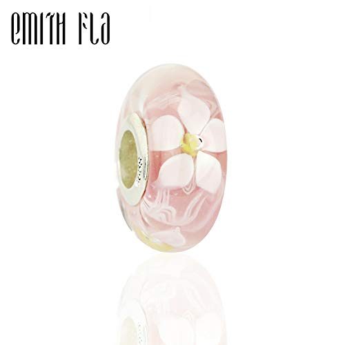 Calvas Authentic 925 Sterling Silver 3D Pink Daffodil Murano Glass Beads Charms DIY Fit for European Original Bracelets & Necklace DIY