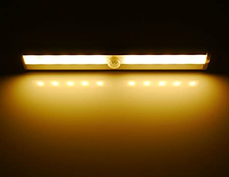 ... cálido sub-luz del gabinete con el PIR de infrarrojos IR Wireless Sensor de movimiento, ideal para closet, Sub-gabinete, barra de luz de lámpara, LED 10 ...