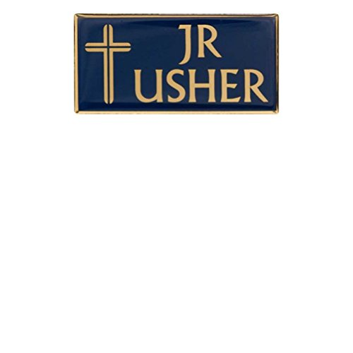 2 Junior Usher Magnetic Badge Pin for Church Blue Gold Set of 2 (Junior Badge)