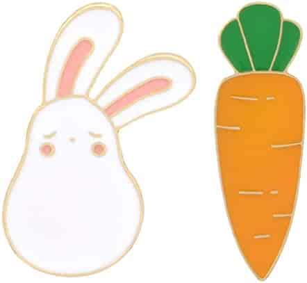 3a54b227d Charmart Rabbit Carrot Lapel Pin 2 Piece Set Cute Bunny Animal Enamel  Brooch Pins Badges Clothes