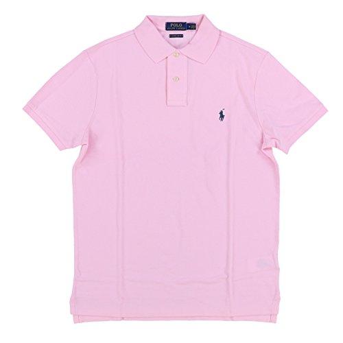 Polo Ralph Lauren Men Custom Fit Mesh Pony Logo Shirt (XXL, BathPink)