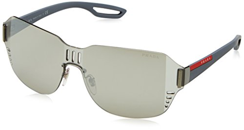 Prada Linea Rossa  Men's 0PS 05SS Black Rubber/Grey Mirror Black Sunglasses (Rossa Linea Prada Sunglasses)