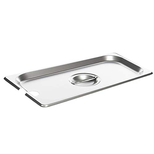 - Full Size Stainless Steel Slotted Steam Table Pan Cover, 1/1 Size Pan Lids, Non-Stick Surface, Solid Lid for Full Size Steam Pans with Handle