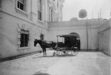 c1904 photo Horse drawn delivery wagon at entrance of White House kitchen Vin d1