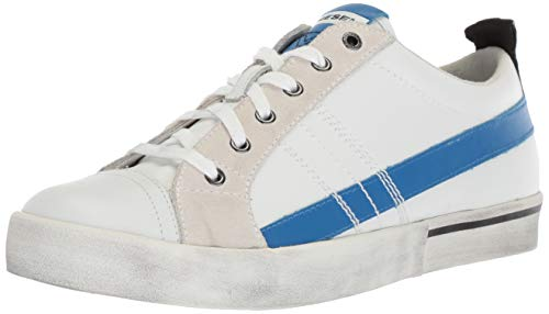 Diesel Men's D-Velows Low LACE-Sneakers, Star White/Imperial Blue, 10.5 M US ()