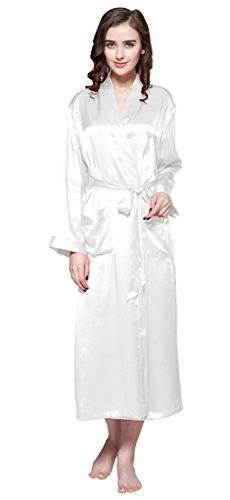 LILYSILK White Silk Robe Women Long 22 Momme Pure Mulberry Real Silk Comfortable Summer Size 18/XXL by LilySilk