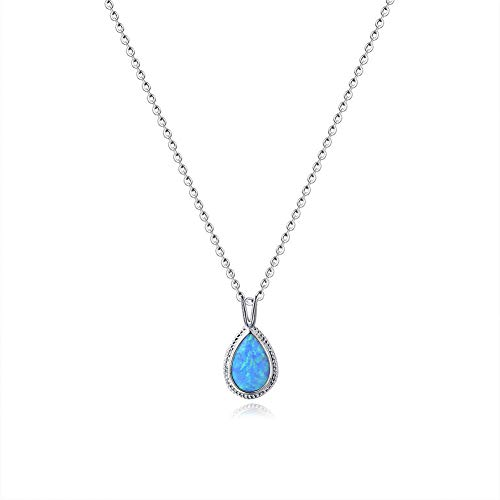 Fancime Sterling Silver Blue Created Opal Pendant Necklace Gold Plated Dainty Women Pear Necklace ()