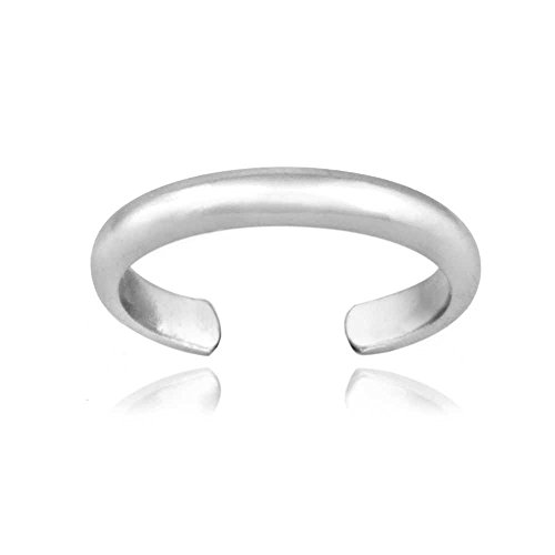 Hoops & Loops Sterling Silver High Polished Plain Simple Toe (Engraved Toe Ring)