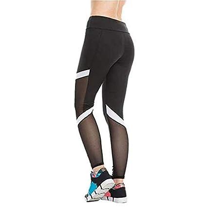 Hanyixue Mallas Deportivas Mujer Leggings Yoga Pantalon Elastico Cintura Altura de Costura Larga para Training Running Yoga Pilates Fitness (Negro, M)