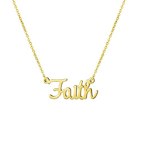 Awegift Name Necklace Big Initial Gold Plated Best Friend Jewelry Women Gift for Her Faith -